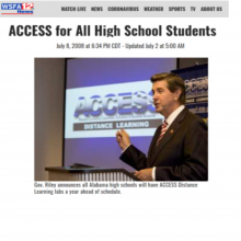 "Thumbnail Image of Governor Bob Riley standing in front of screen that says ""ACCESS Distance Learning"