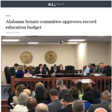 Thumbnail Image of large group of people watch senate budget committee meeting