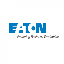 Thumbnail Image of Eaton logo - Alternating Blue and White Letters that spell Eaton and slogan underneath that says Powering Business Worldwide