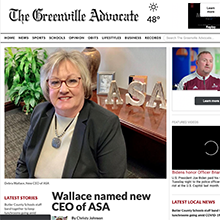 Debra Wallace on front page of GreenvilleAdvocate.com
