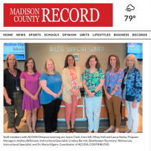Screenshot of Madison County Record article